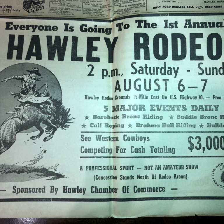 Hawley Herald newspaper ad in 1960 featuring the first Hawley Rodeo with Barnes PRCA Rodeo Company.